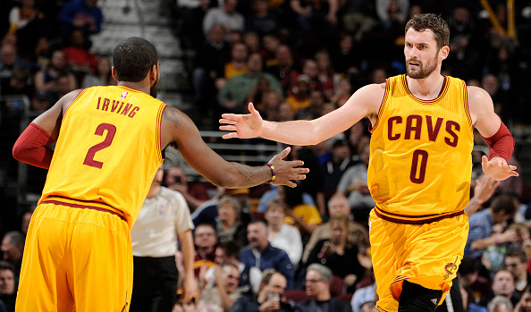 CLEVELAND, OH - MARCH 18: Kyrie Irving #2 and Kevin Love #0 of the Cleveland Cavaliers during the game against the Brooklyn Nets on March 18, 2015 at Quicken Loans Arena in Cleveland, Ohio. NOTE TO USER: User expressly acknowledges and agrees that, by downloading and/or using this Photograph, user is consenting to the terms and conditions of the Getty Images License Agreement. Mandatory Copyright Notice: Copyright 2014 NBAE (Photo by David Liam Kyle/NBAE via Getty Images)