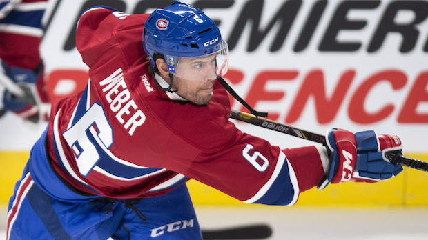 Montreal Canadiens defenseman Shea Weber takes a shot during the warm-up prior to facing the Toronto Maple Leafs in NHL pre-season hockey action Thursday, October 6, 2016 in Montreal. THE CANADIAN PRESS/Paul Chiasson